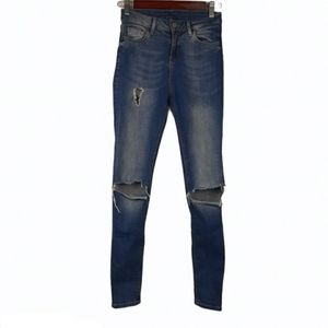 Topshop Moto Skinny High Rise Distressed Jeans